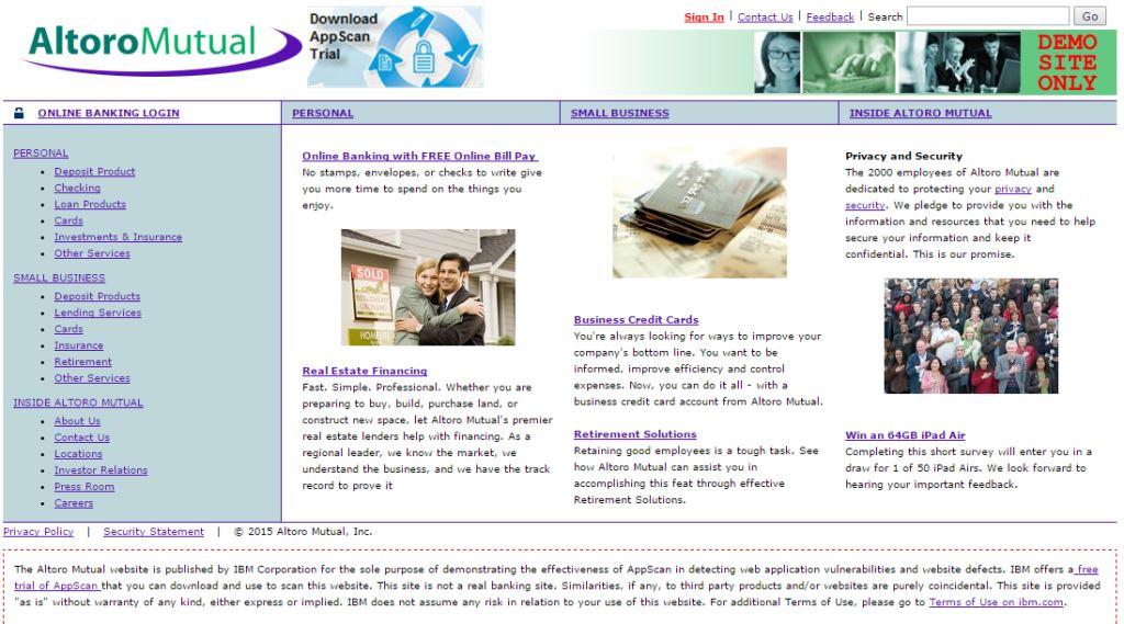 Altoro Mutual| www.demo.testfire.net