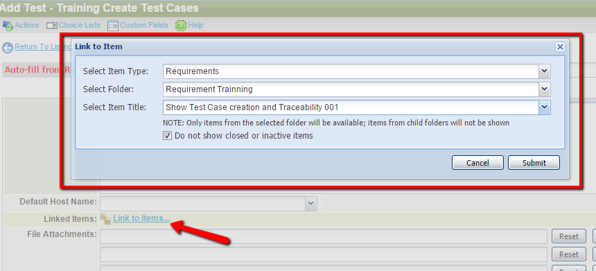 Test Case Creation and Trace-ability